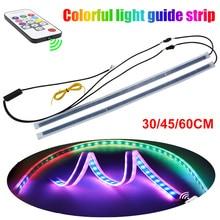 LED DRL Daytime Running Light RGB LED Strip Lamp Flowing Turn Signal Light Waterproof Flexible Universal For Cars Motor 12V-16V
