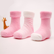 3PCS 0-3 year old cotton baby socks Autumn and winter thick terry baby socks solid color socks