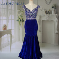 2015 New Arrival Sexy Royal Blue Velvet Floor Length Mermaid Women Evening Dresses Gowns With Crystals