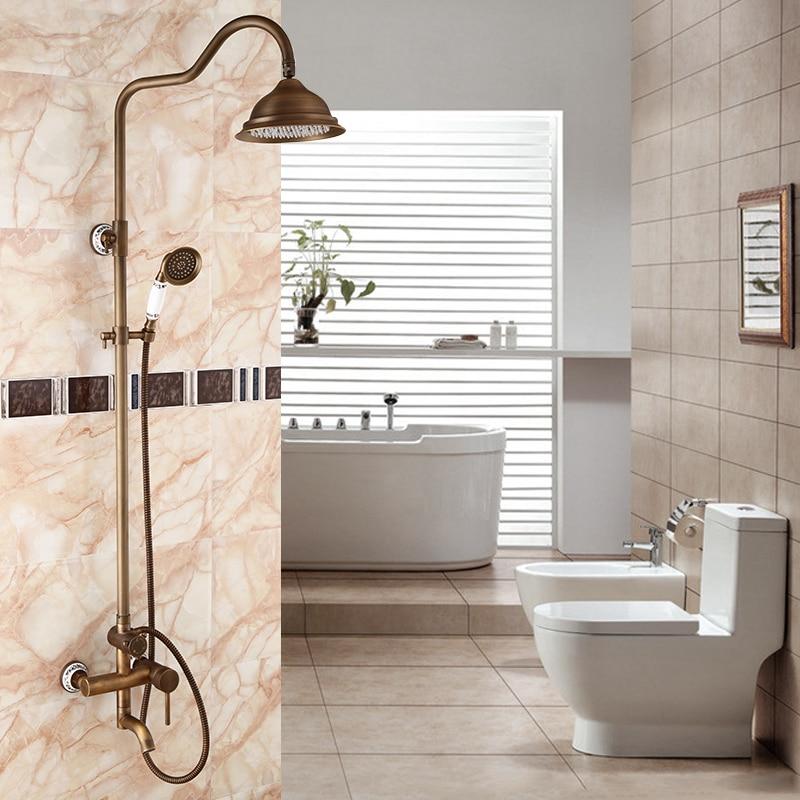 Bathroom copper shower faucet hot and cold, Brass wall mount shower faucet set shower head, Antique rain shower faucet mixer tap все цены