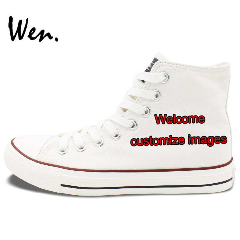 Wen Customize White High Top Hand Painted Canvas Shoes Offer Pictures You Like to Design Accept Bargain According to Complexity