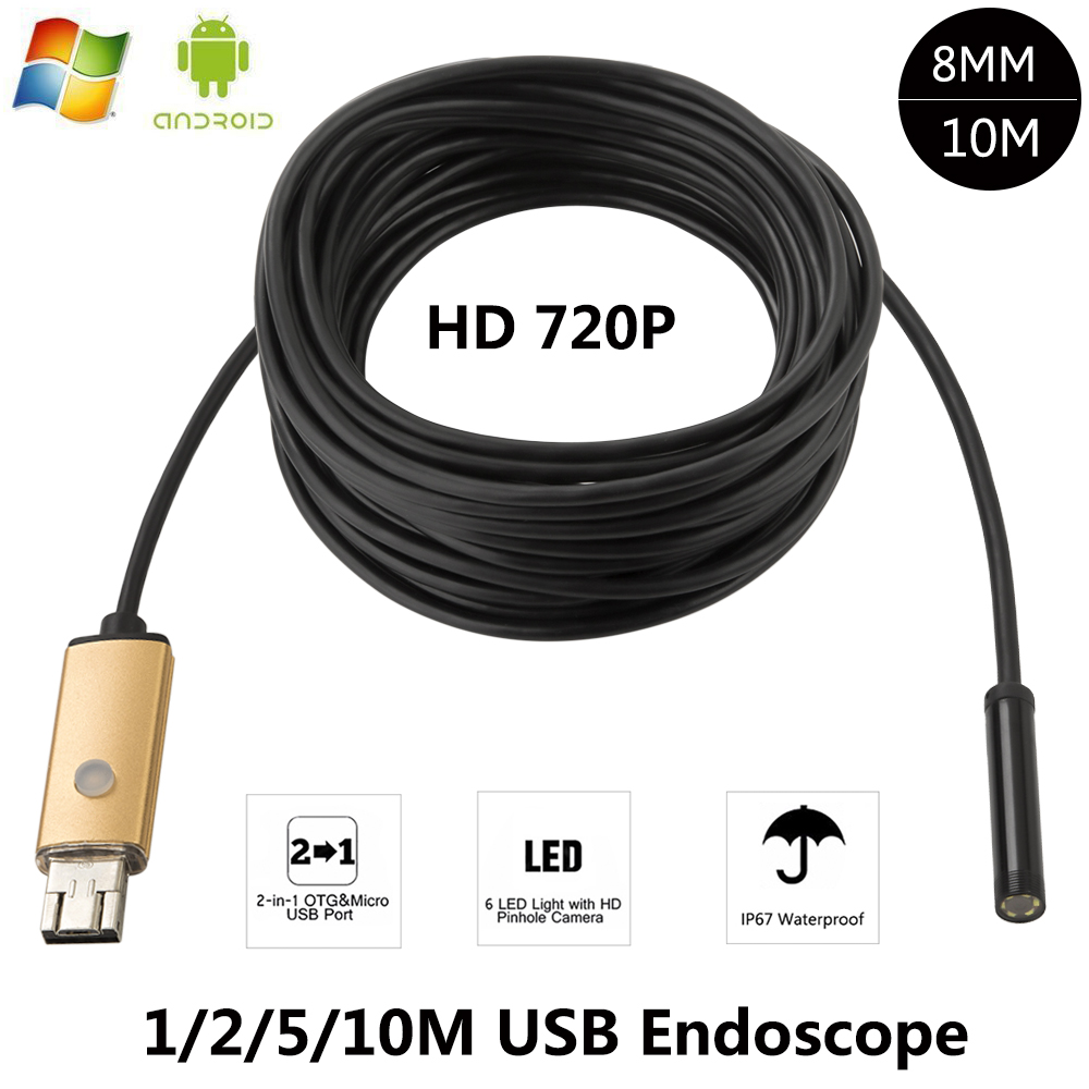 8MM Lens HD Android USB Endoscope 2M/5M/10M Cable 6 LEDs Inspection OTG Borescope Endoscop Waterproof Mini Camera For Android PC 2018 newest 4 9mm lens medical endoscope camera for otg android phone pc usb borescope inspection otoscope camera for ear nose