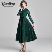 Runway Vintage Lace Dress Green Women 2018 Autumn Long Sleeve Embroidery Hollow Out Embroidery V Neck Long Dress