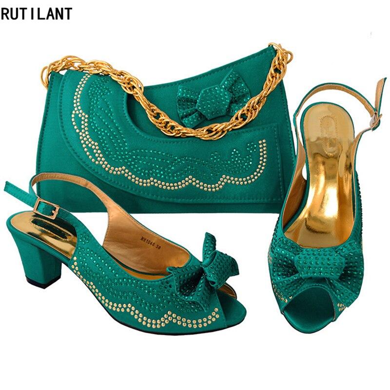 Nigérian yellow Dames Mis teal En Sac Chaussures Bleu Avec pourpre Décoré Italie Femmes Bleu Et Couleur Ensemble argent rouge vert Italiennes Strass x56AAPwT