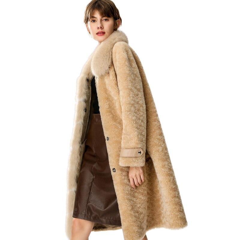 Élégant Vêtements Vintage Zt1579 Automne De Femmes Light Veste Camel Coréen Mouton Manteau D'hiver Renard Laine Col Fourrure 2019 Vraie xn6Hq1FwH