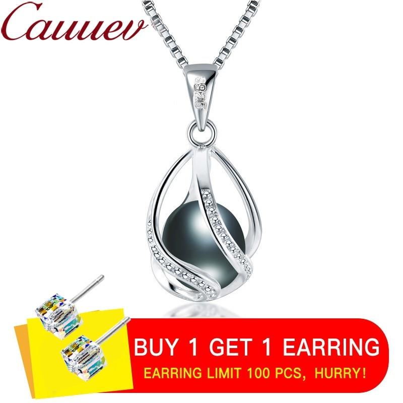 Cauuev echtem 100% Natürliche süßwasser Perle Schmuck Heißer Verkauf 925 Sterling Silber Anhänger Halskette geschenk Für Frauen Weibliche Jude