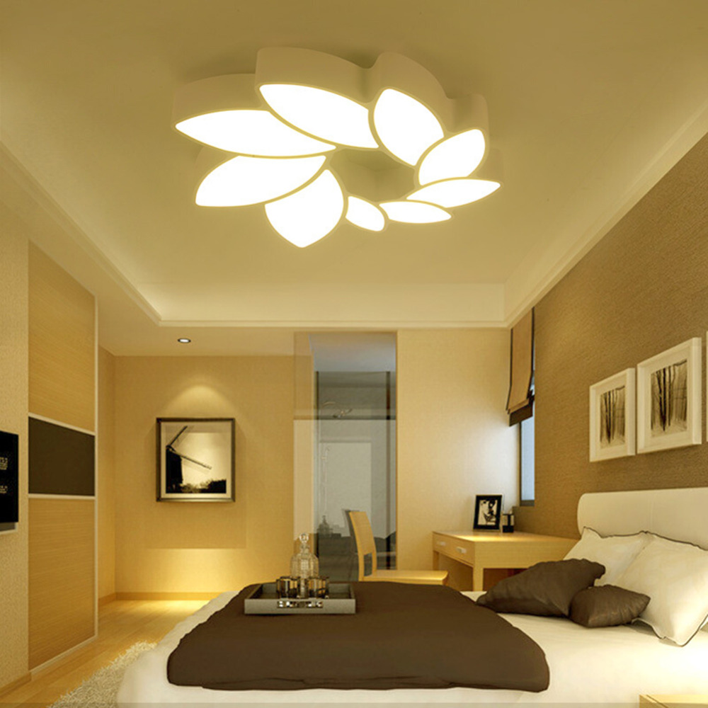 Flowers LED Ceiling Light Modern Panel Lamp Living Room Hall Surface Mount Flush Lighting Fixture Bedroom Study Remote Control