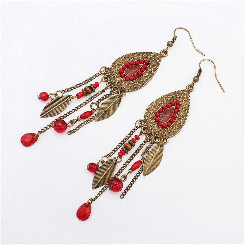 Women vintage Ethnic earrings Fashion Indian style tassel metal leaves oval earrings personality drop earrings gift jewelery