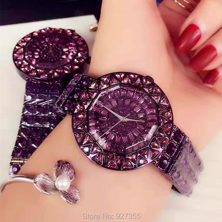 2017 New Style Purple Women Watches Top Luxury Steel Full Rhinestone Wristwatch Lady Crystal Dress Watches Female Quartz Watch Top
