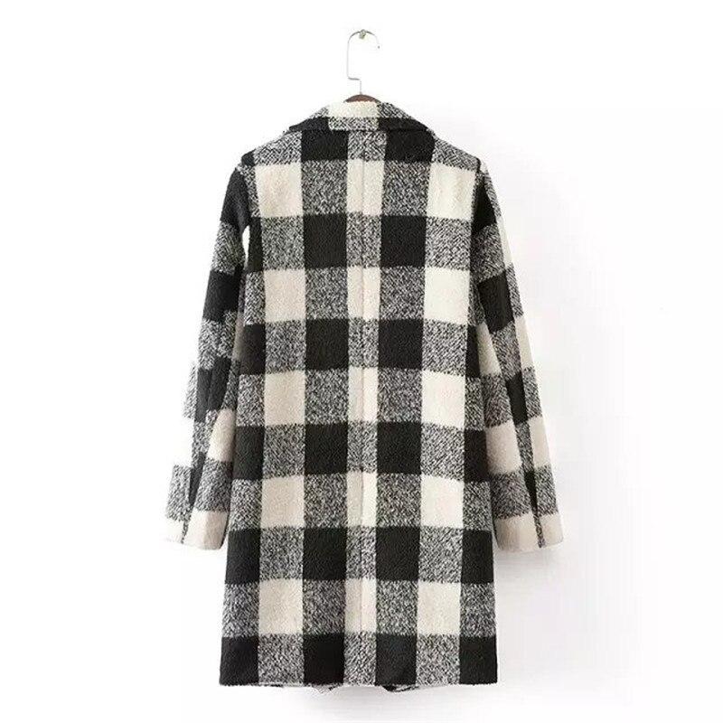 Longos Coréenne Arrivée Manteau Élégante Livraison Casacos 2018 De Nov Blanc Laine 11 Gratuite Nouvelle Inverno Et Mode Noir Plaid xtZqXY