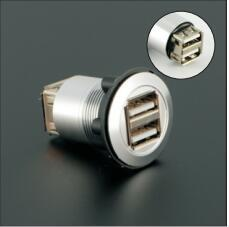 22mm panle mount/USB connector/usb socket/metal type Two layer USB2.0 Female A to Female A(CE,ROHS)