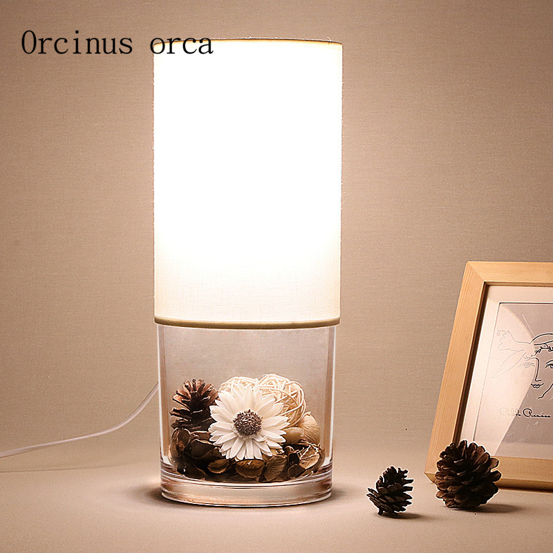 Nordic modern simple dry  flower glass table lamp study bedroom bedside lamp creative plant ecological table lamp LED Table Lamps     - title=