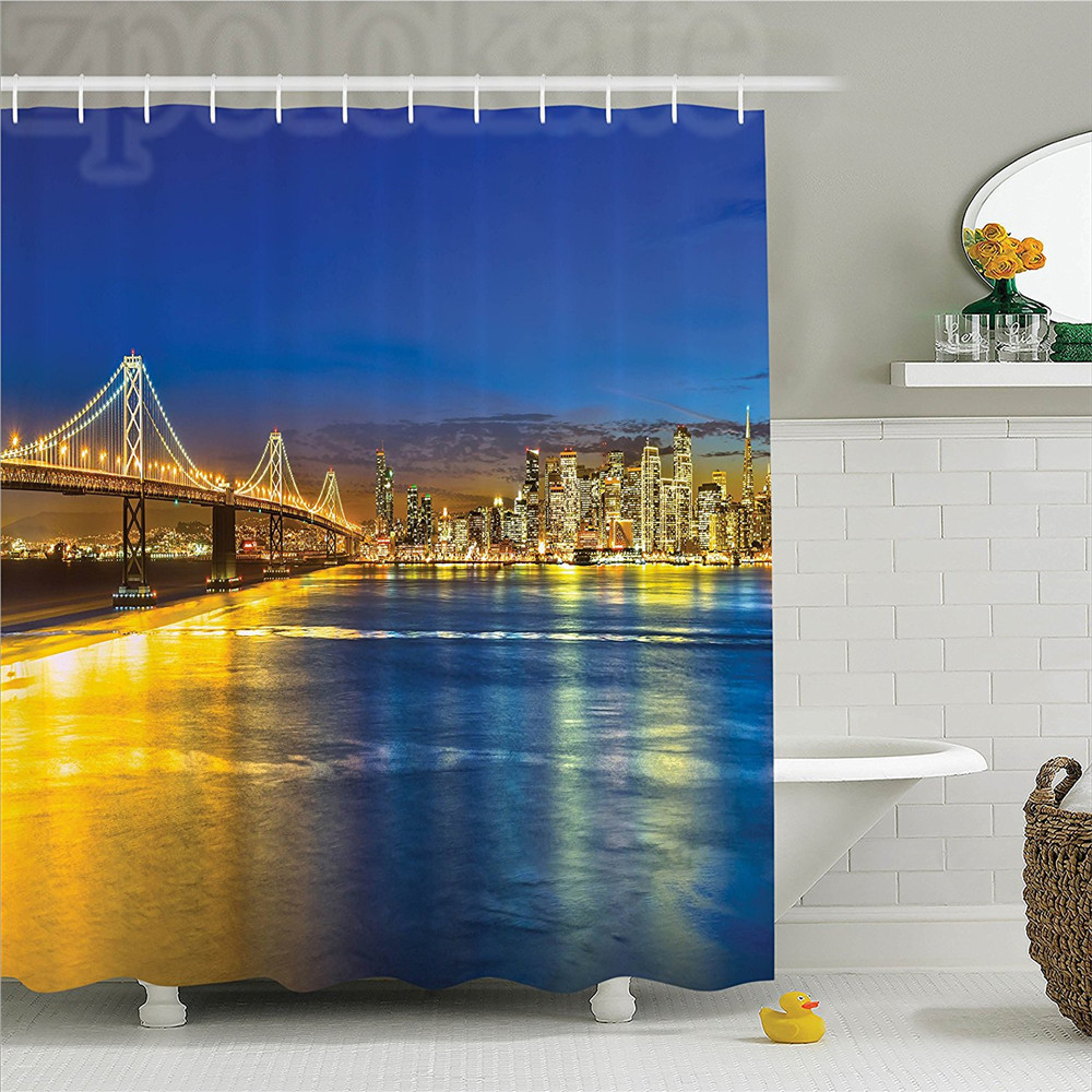Apartment San Francisco California USA Tourist Attractions Illuminated Skyscraper View Print Polyester Bathroom Shower Curtain Y