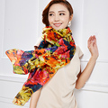 BooLawDee Popular women and female silk scarf printing 180*110cm multi color for girlfriend beach sun protection A31005