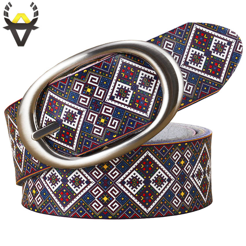 2018 Fashion Genuine leather   Belts   for women High quality Printing Plaid Wide   belt   woman Pin buckle female strap second cowskin