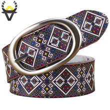 Fashion genuine leather belts for women Quality printing plaid belt woman Pin buckle girdle Cow skin strap female width 3.5 cm