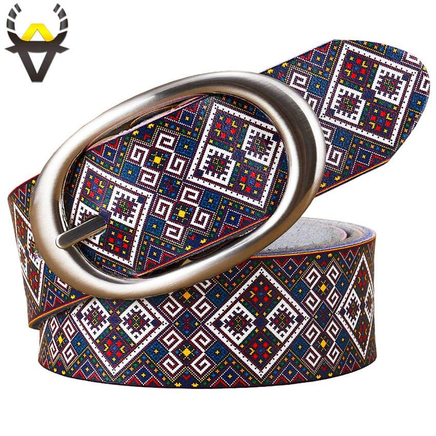 Mode en cuir véritable ceintures pour femmes qualité impression plaid ceinture femme boucle ardillon ceinture peau de vache sangle femme largeur 3.5 cm