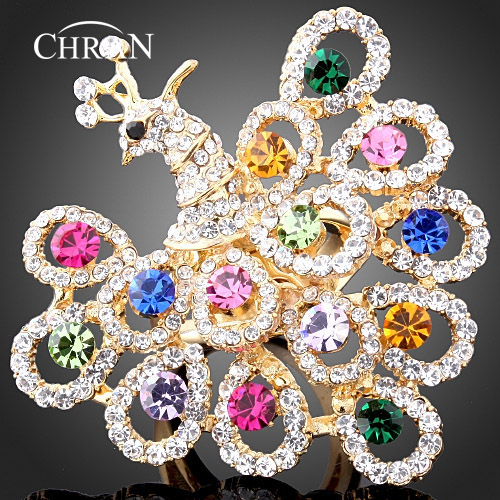 Chran Wholesale New Gold Color Crystal Big Fantasy Ladies Peaccock Party Rings For Women Fashion Jewelry