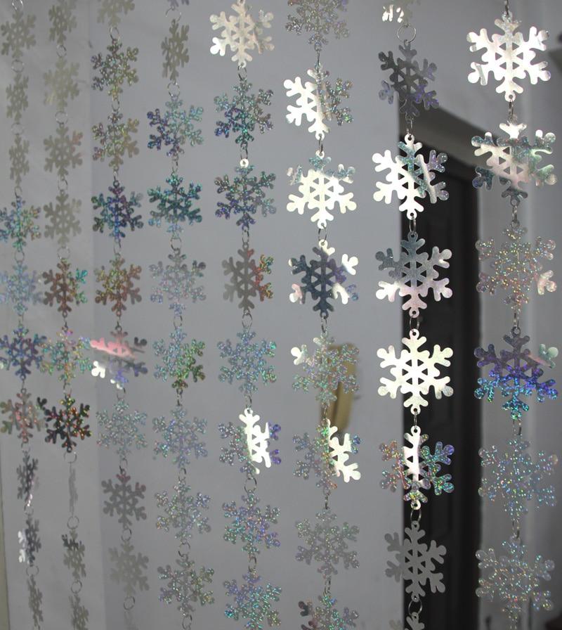 Milad daxili bəzək snowflake sequins pərdə Şənlik bəzək Milad - Şənlik aksesuarları - Fotoqrafiya 4