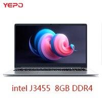 YEPO Тетрадь компьютер 15,6 дюймов 8 ГБ Оперативная память DDR4 64 ГБ/128 ГБ/256 ГБ SSD intel J3455 4 ядра ноутбуки с светодио дный FHD Дисплей Ultrabook