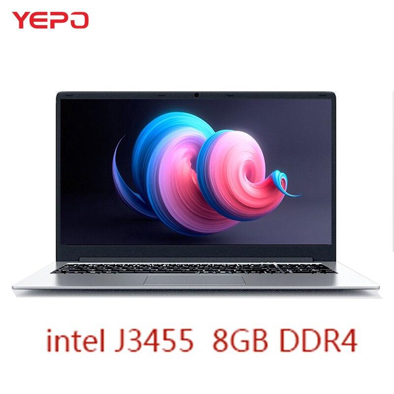 YEPO Notebook Computer 15.6 inch 8GB RAM DDR4 256GB/512GB SSD 1TB HDD intel J3455 Quad Core Laptops With FHD Display Ultrabook