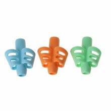 3 pçs dois-dedo aperto silicone bebê lápis titular aprender ferramentas de escrita caneta