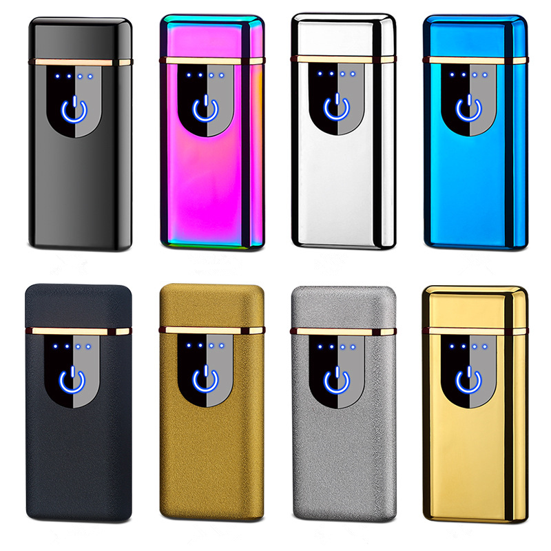 Image 5 - New USB Electric Dual Arc Lighter Rechargeable Windproof LED Power Disaplay Dual Thunder Pulse Cross Plasma Free Laser Logo-in Cigarette Accessories from Home & Garden