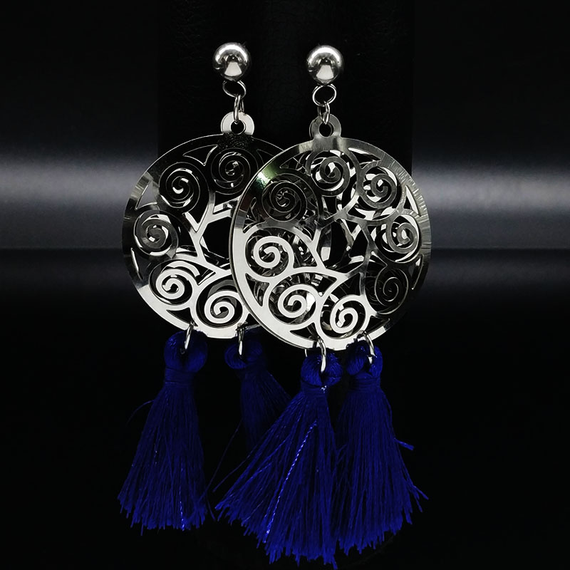 5b7aed429e9f 2018 Hollow Flower Stainless Steel Silver Color Earrings for Women Blue  Tassel Stud Earrings Jewelry aretes de mujer E612209