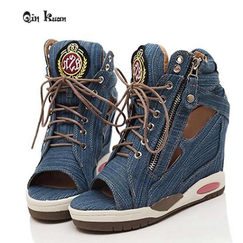 Loslandifen bayanlar yüksekliği artan kadın platformu Jean kama ayakkabı yaz tuval Zip yeni kadın yüksek topuklu pompalar boyutu 35- 39