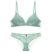 Euramerican bralette wireless sexy bra and panty set comfortable sleep women underwear floral lace thin cup intimates
