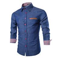 Shirt Calças de Brim dos homens Camisas de Manga Longa à moda Elegante Casual Camisa de Algodão Designer Denim Jovem do Sexo Masculino roupas 0735