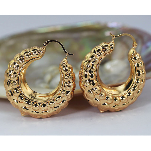 Fashion Round Hoop Earrings For Brides Dubai Gold Costume Jewelry Accessory Wedding Women Ea106