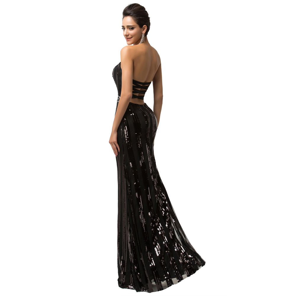 Sparkle Luxury Evening Gown Strapless Floor Length Long Black Sequins Evening  Dress Backless Sexy Formal Dresses Zipper CL007591-in Evening Dresses from  ... 114b031b72d4