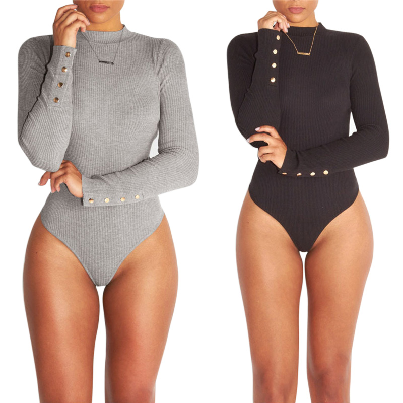 Women Skinny Jumpsuit Long Sleeves Elastic Slim Fit High Waist Bodysuit For Autumn GDD99