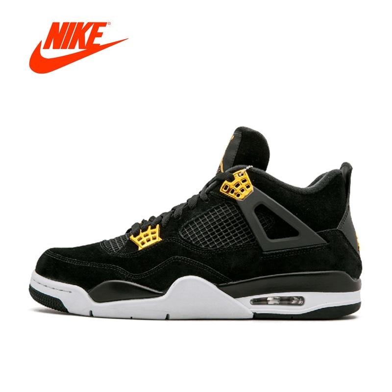D'origine Nike Air Jordan 4 Redevances AJ4 Respirant Hommes Chaussures de Basket-Ball De Sport Nouvelle Arrivée Authentique Baskets pour Hommes