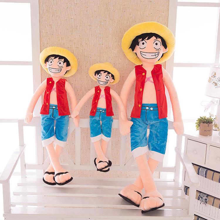 [Best] Large size <font><b>85cm</b></font> ONE PIECE Luffy Plush Suffed Toy <font><b>Doll</b></font> Child's friend soft cotton Luffy model Hold pillow kids/baby gift image