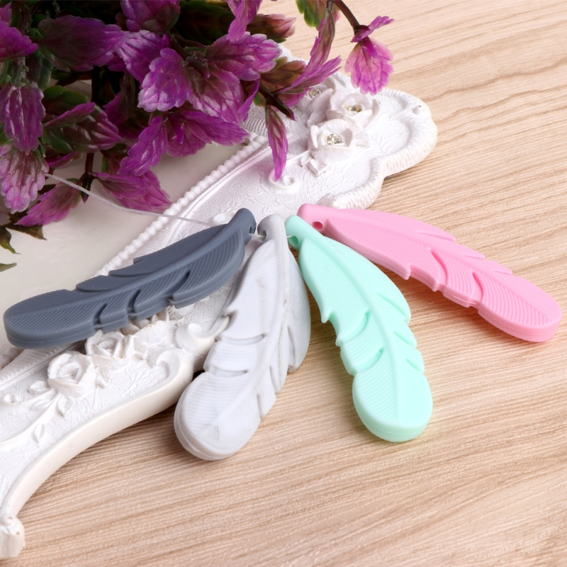 OOTDTY Nursing Feather Pendant Baby Teether Silicone Soother Chew Toy Teething Necklace hippopotamus animal series many chew toy