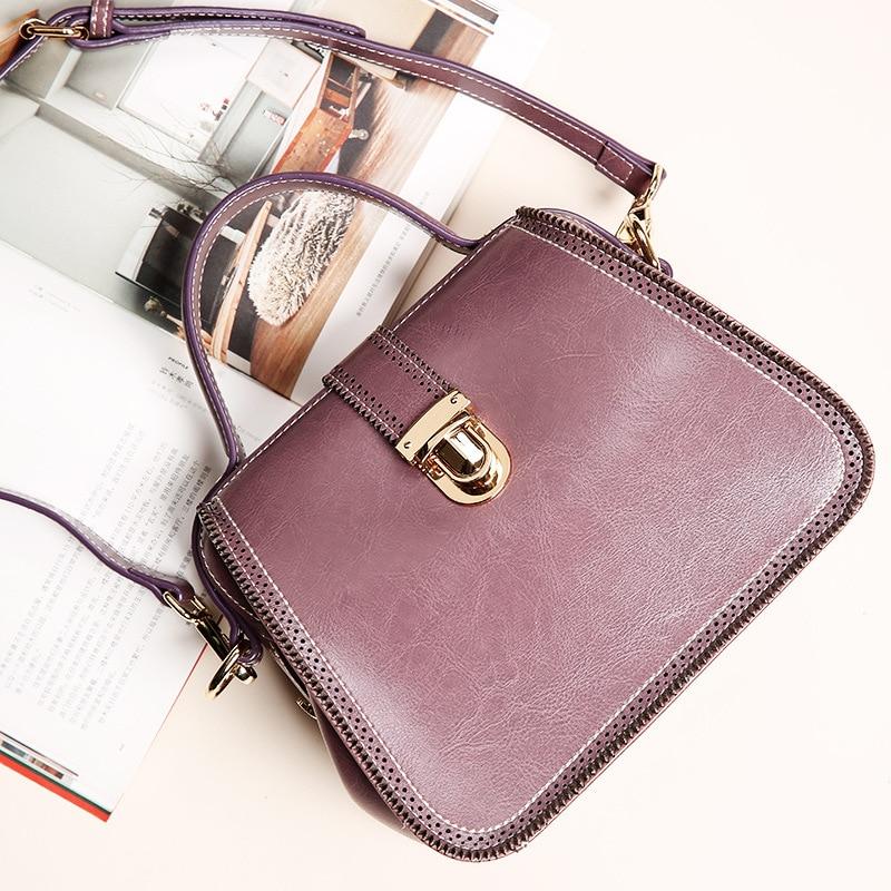 Vintage Oil Wax genuine leather Women's Doctor Tote Bags Fashion bow design Lady Shoulder Bag Messenger bag Satchel Five colors