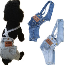 Puppy Dog Clothes For Dogs Denim Jumpsuit Costumes Overalls French Bulldog Yorkshire Terrier Pet Pants Jeans L