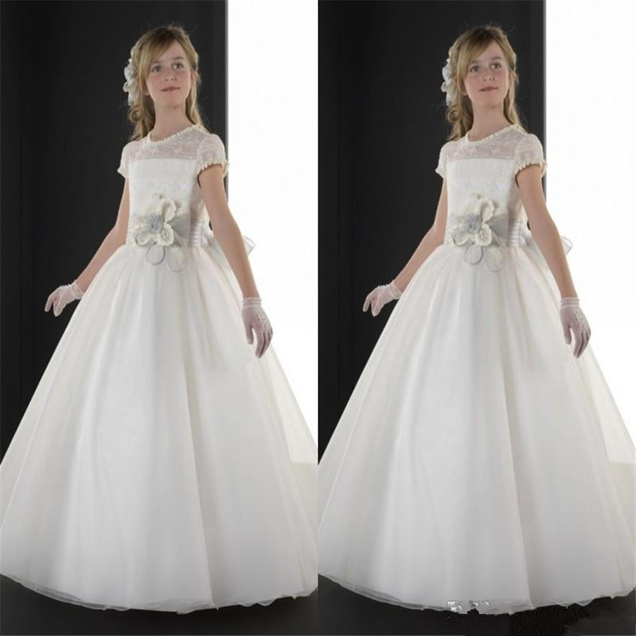 09a69cb622f 2015 Latest First Communion Dresses Crew Sheer Lace Neck Short Sleeve Aline  Long Flower Girls Dresses On Sale-in Flower Girl Dresses from Weddings    Events ...