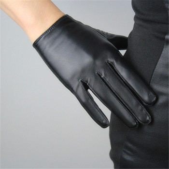 Guantes con pantalla táctil para mujer de piel de oveja pura estilo corto negro versión europea dedos delgados guantes de mujer TB72