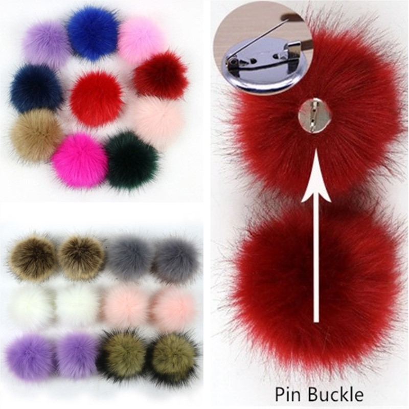Style A 6 Colors DIY Faux Fox Fur Fluffy Pom Pom with Elastic Loop for Knitting Hats Scarves Gloves Shoes Bags Keychains Accessories 24 PCS Faux Fur Pom Pom Balls