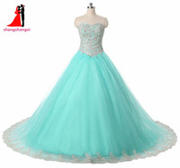 2017 Quinceanera Dresses Long Sweetheart Appliques Ball Gown Plus Size Prom Party Dress Sweet 16 Dresses