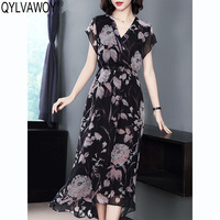 Летнее шелковое платье для женщин одежда 2019 Винтаж корейский цветочный сексуальное женское платье элегантные женские платья Vestidos WR 56851 MY2913