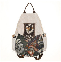 New Fashion Appliques Women Shopping Backpack All Match Lady Casual Backpacks Top Canvas Versatile Beading Zipper