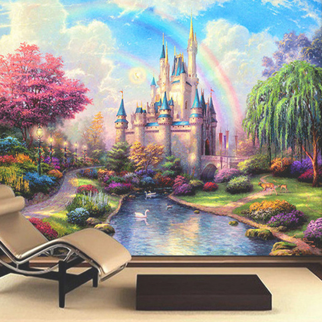 Custom 3d mural bedding room tv sofa wall backdrop fantasy for Castle mural kids room