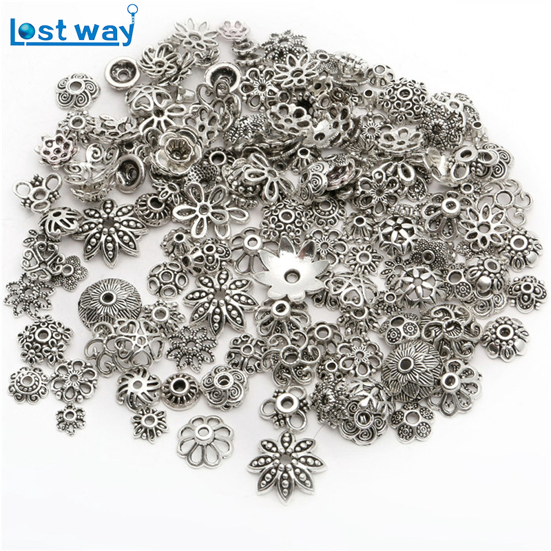 Wholesale Mixed Approx 200pcs/lot Zinc Alloy Spacer Beads End Caps Antique Silver plated Bead Caps for Jewelry Findings Making 200pcs mixed botany