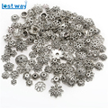 Wholesale Mixed Approx 200pcs/lot Zinc Alloy Spacer Beads End Caps Antique Silver plated Bead Caps for Jewelry Findings Making