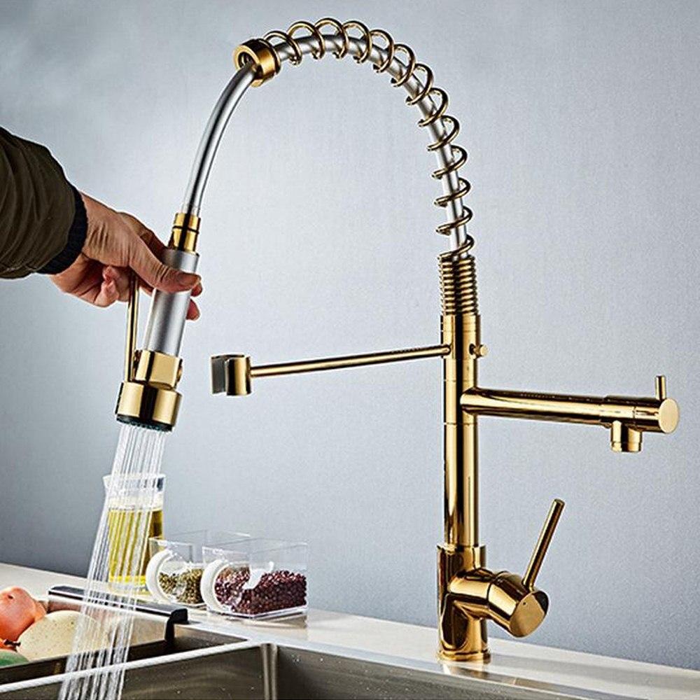 Robinet de cuisine tirer sur le pulvérisateur or bec pivotant mitigeur à poignée unique 360 Rotation double bec évier robinet de pulvérisation coulissant