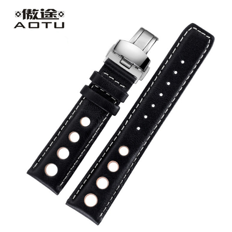 Genuine Leather 20MM Watchbands For Tissot PRS516 Series T91 Men Leather Watch Strap Sport Watch Band Male Clock Bracelet Belt 20mm men s canvas watchbands for tissot t095 10 colors watch strap for male nylon watch band for t095 bracelet belt watchstrap